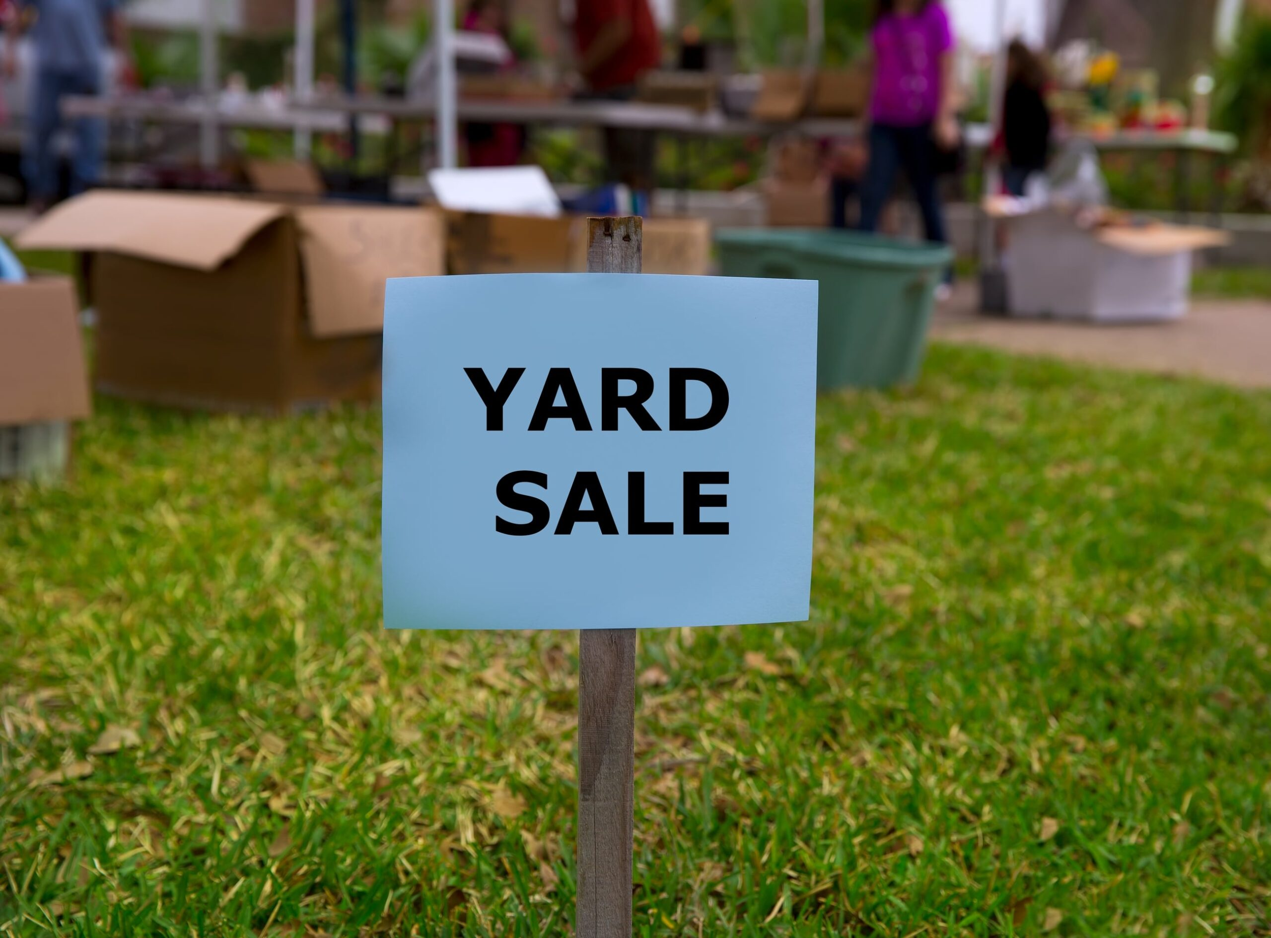 yard sale to clear away unwanted belongings
